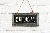 Hello Saturday finally weekend text on chalkboard