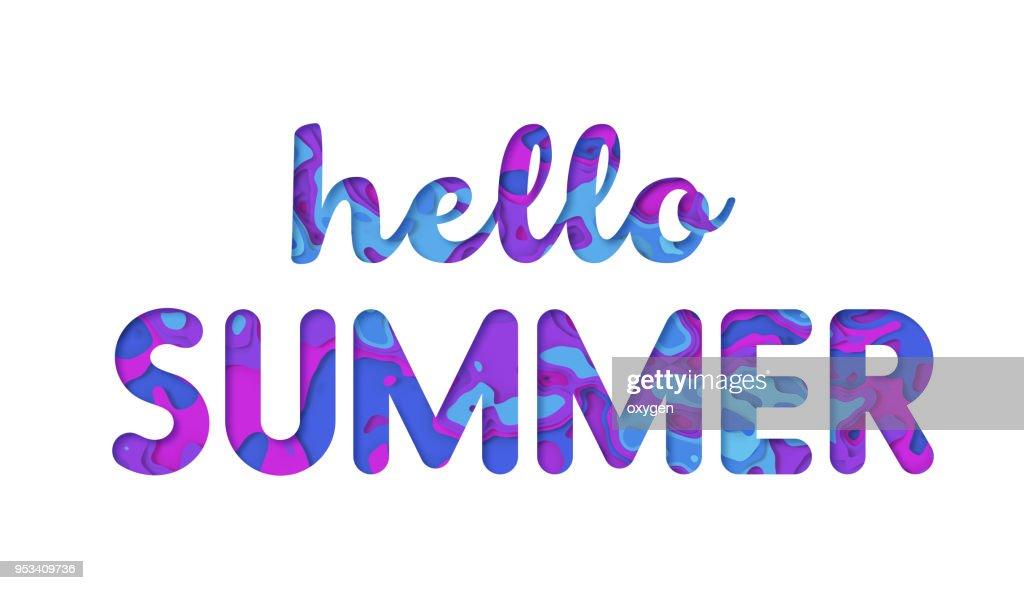 Hello Summer typography design : Stock Photo
