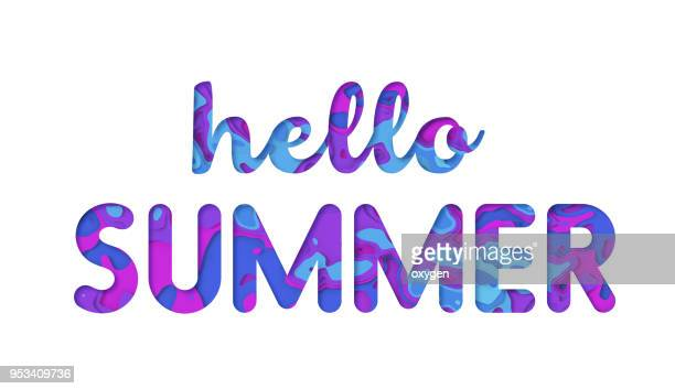 hello summer typography design - font stock pictures, royalty-free photos & images