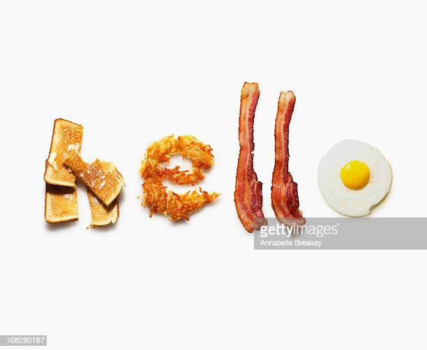 'hello' written with breakfast food - texto - fotografias e filmes do acervo