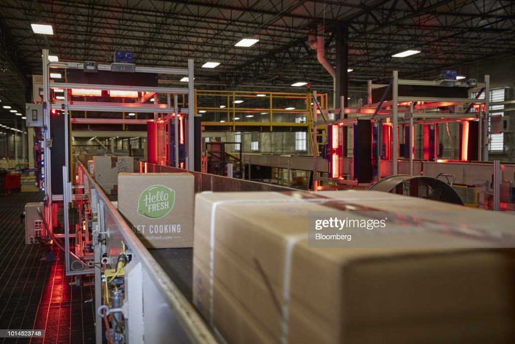 A HelloFresh SE package moves through an automated scanner at the FedEx Corp. Ground distribution center in Jersey City, New Jersey, U.S., on Tuesday, Aug. 7, 2018. FedEx is heading into fiscal 2019 running on all cylinders, with revenue growth and margin expansion expected across all three of its segments. Photographer: Marc McAndrews/Bloomberg via Getty Images