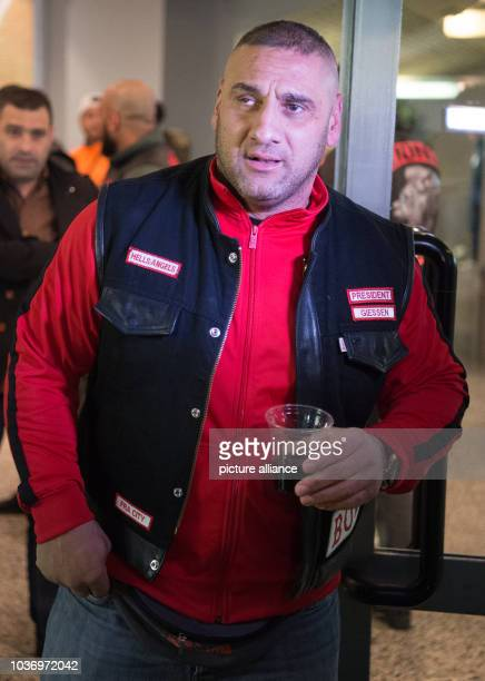 Hells Angel Aygun Mucuk President of the Charter Giessen GTown at a boxing event in the Stadthalle center in Offenbach Germany 26 February 2016 The...