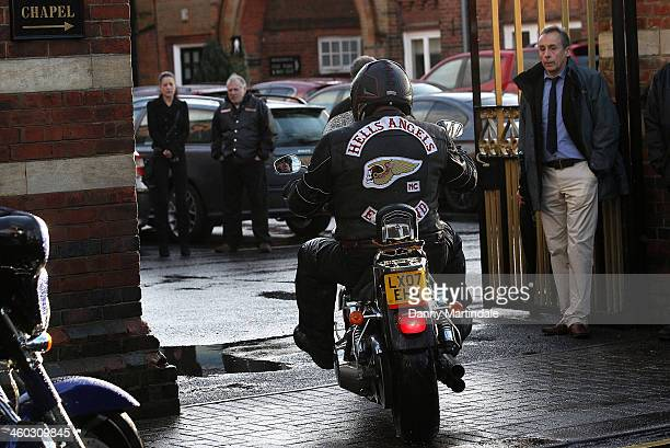 Hells Angels arrive at the funeral of 'great train robber' Ronnie Biggs at Golders Green Crematorium on January 3 2014 in London England