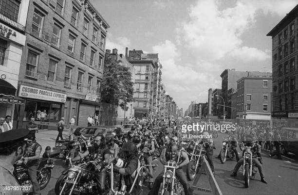 Hells Angels attend the funeral of a friend on the Lower East Side New York City circa 1981
