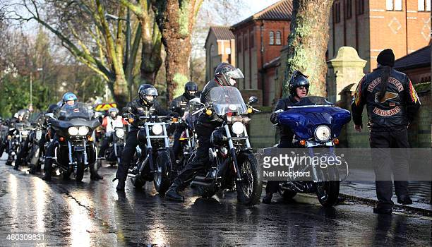 Hells Angels attend the funeral of Ronnie Biggs at Golders Green Crematorium on January 3 2014 in London England