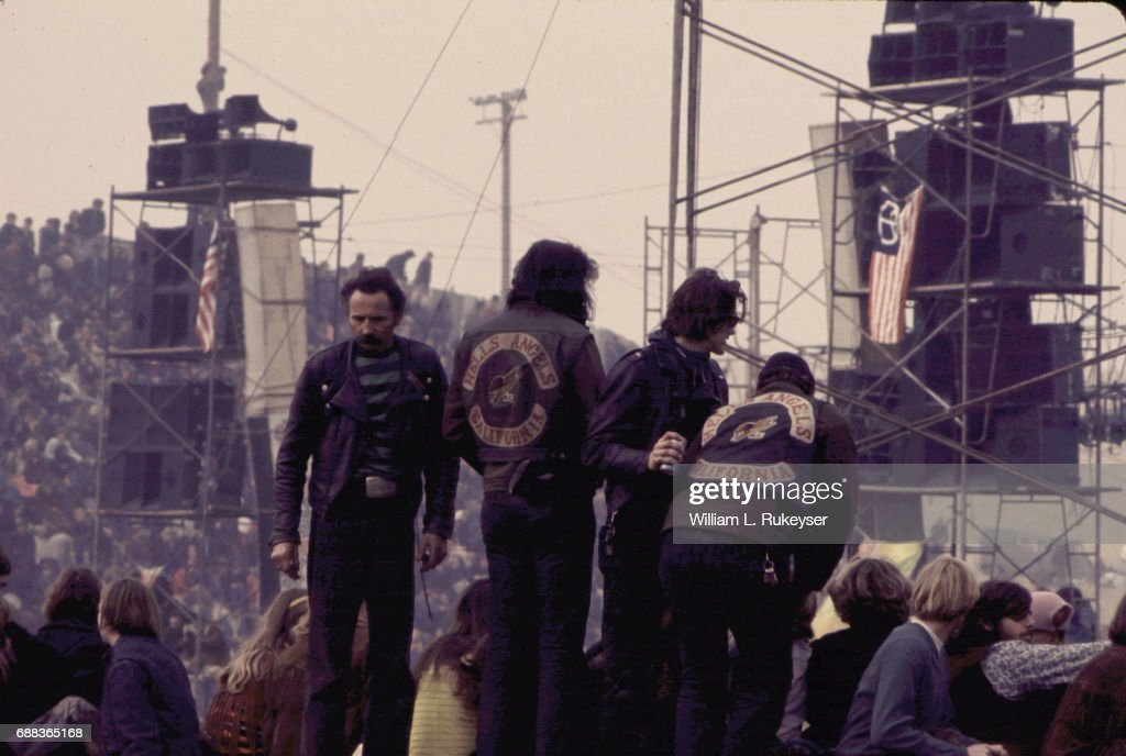 Hells Angels at Altamont Concert : News Photo