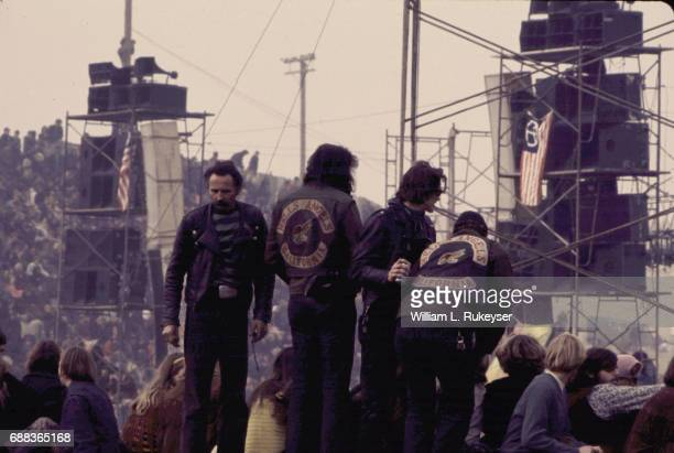 Hell's Angels before the Rolling Stones appeared at the Altamont Speedway for the free concert they were headlining