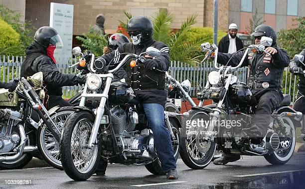 Hells Angels bikies leave after the funeral for Melbourne crime figure Macchour Chaouk at Preston Mosque on August 16 2010 in Melbourne Australia...