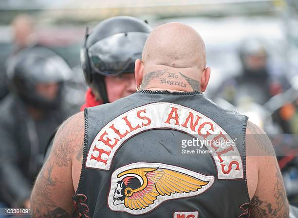 Hells Angels check visitors to the Bulldog Bash at Shakespeare County Raceway on August 12 2010 in StratforduponAvon England