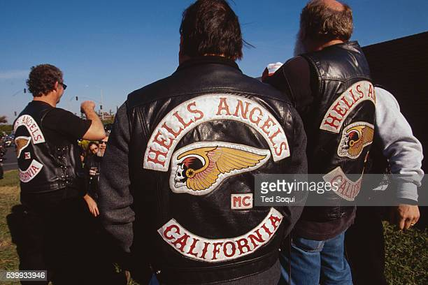 Hell's Angels members congregate at an event where Sonny Barger signs copies of his autobiographical book on life in the Hell's Angels Barger who...