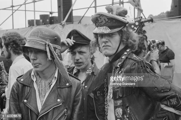 Hells Angels members pulling security at a Rolling Stones concert in Hyde Park London UK 5th July 1969