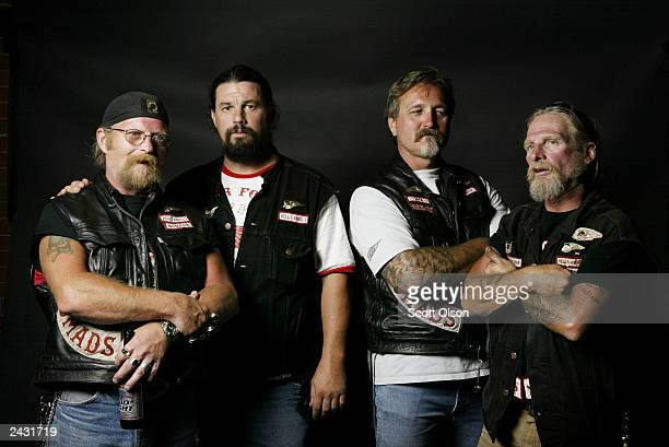 Hells Angels motorcycle club members Mike Bone Jammer and Pirate attend a party August 23 2003 in Quincy Illinois The party was hosted by the Midwest...