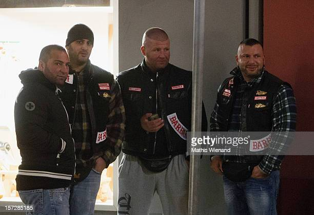 Hells Angels supporters before the press conference on November 30 2012 in Krefeld Germany The 30 former Bandidos came from chapters in Leverkusen...