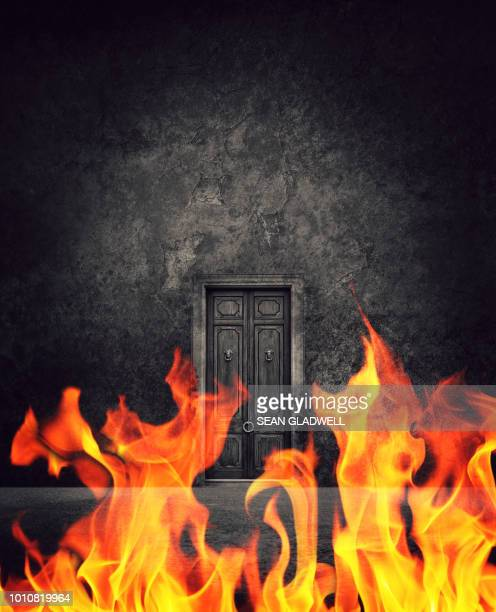 hell's fire and doorway - hell stock pictures, royalty-free photos & images