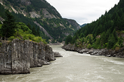 Hells Gate in Fraser Canyon River and Canadian Railway 507684862
