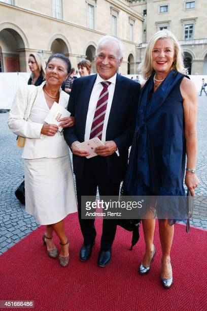 Helma Huber with husband Erwin Huber and Jutta Speidel attend the Bernhard Wicki Award at Cuvilles Theatre on July 3 2014 in Munich Germany