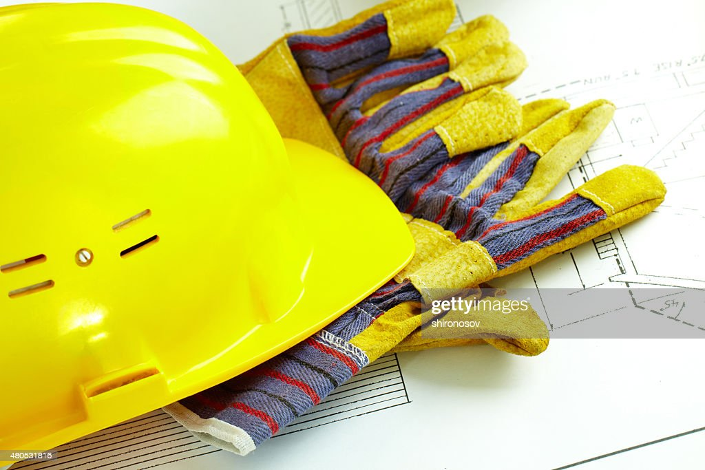 Helmet and gloves : Stock Photo