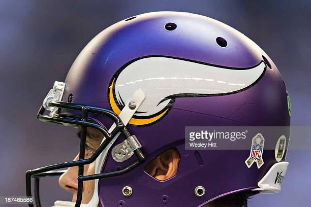 Helmet and logo of the Minnesota Vikings during a game against the Dallas Cowboys at AT&T Stadium on November 3, 2013 in Arlington, Texas. The...