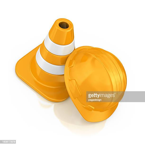 helmet and traffic cone - cone shaped objects stock pictures, royalty-free photos & images