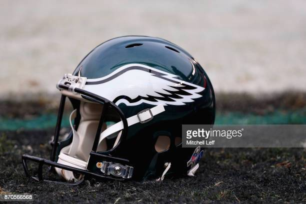 A helmet belonging to a Philadelphia Eagle player is seen prior to the game against the Denver Broncos at Lincoln Financial Field on November 5 2017...