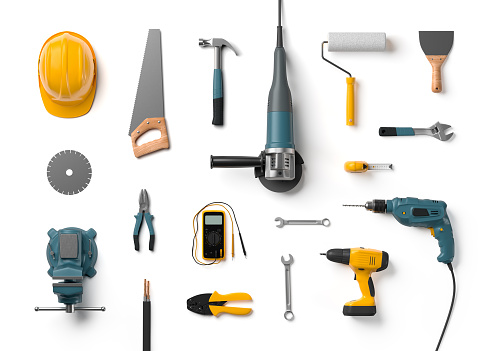 helmet, drill, angle grinder and other construction tools 510617716