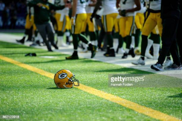 A helmet for the Green Bay Packers is seen before the game between the Minnesota Vikings and the Green Bay Packers on October 15 2017 at US Bank...
