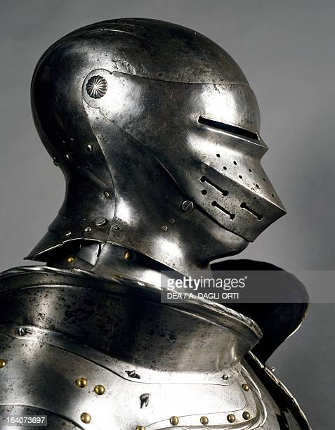 Helmet from an armour of the manatarms in steel made in southern Germany beginning of 16th century Germany 16th century Florence Museo Stibbert