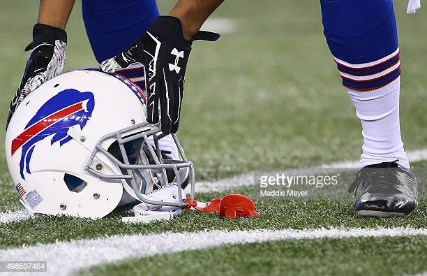 A helmet is shown before a game between the New England Patriots and the Buffalo Bills at Gillette Stadium on November 23 2015 in Foxboro...