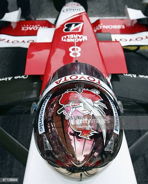Helmet of Jarno Trulli of Italy and Toyota is seen on his car prior to the Malaysian Formula One Grand Prix on March 19 in Kuala Lumpur Malaysia