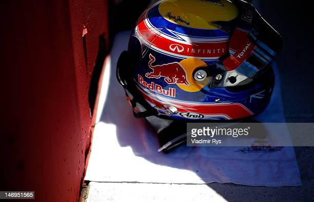 Helmet of Mark Webber of Australia and Red Bull Racing is pictured on a starting grid before the European Grand Prix at the Valencia Street Circuit...