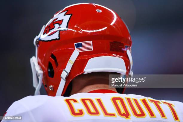 Helmet of Punter Dustin Colquitt of the Kansas City Chiefs during first half of a match against Los Angeles Chargers at Estadio Azteca on November 18...