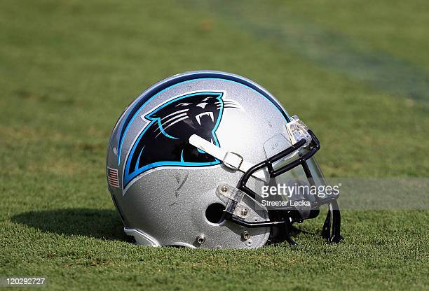 Helmet of the Carolina Panthers on the ground during training camp at Wofford College on August 3, 2011 in Spartanburg, South Carolina.