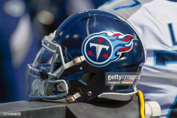Helmet of the Tennessee Titans rests on the sideline during a game against the Jacksonville Jaguars at Nissan Stadium on September 20, 2020 in...