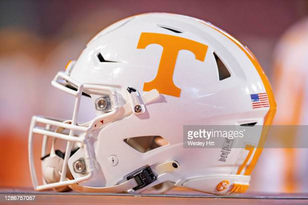 Helmet of the Tennessee Volunteers on the sidelines during a game against the Arkansas Razorbacks in the first half at Razorback Stadium on November...