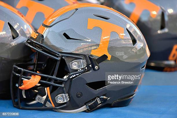 A helmet of the University of Tennessee Volunteers rests on the sideline during a game against the Nebraska Cornhuskers during the Franklin American...