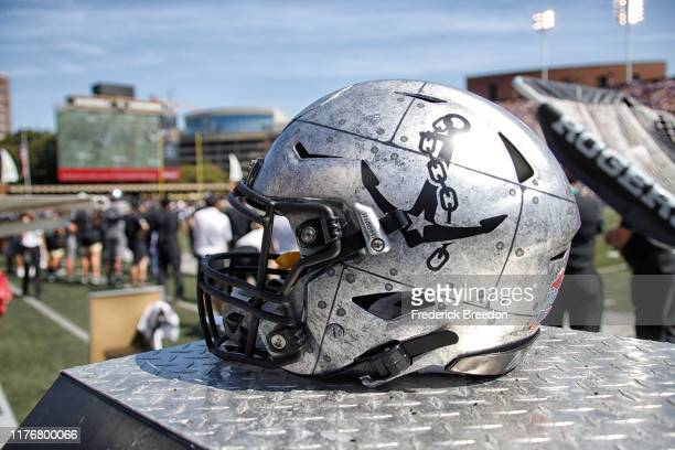 A helmet of the Vanderbilt Commodores rests on the sideline during a game against the LSU Tigers at Vanderbilt Stadium on September 21 2019 in...