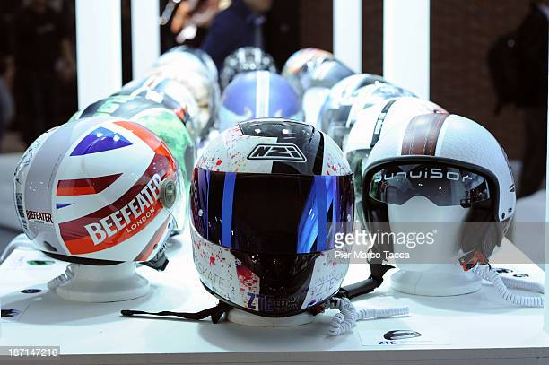 Helmets are displayed at the EICMA 2013 71st International Motorcycle Exhibition on November 6 2013 in Milan Italy