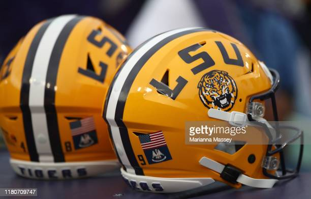 LSU helmets are seen on the field prior to the game against the Florida Gators at Tiger Stadium on October 12 2019 in Baton Rouge Louisiana