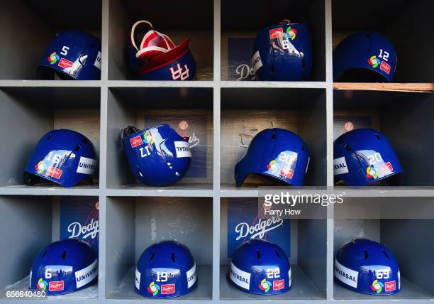 Helmets for team Puerto Rico are seen in the dugout prior to Game 3 against team United States of the Championship Round of the 2017 World Baseball...