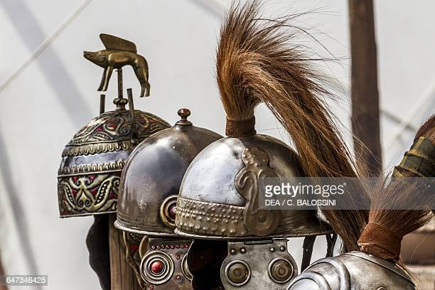 Helmets in a warrior camp Celtic civilisation Historical reenactment