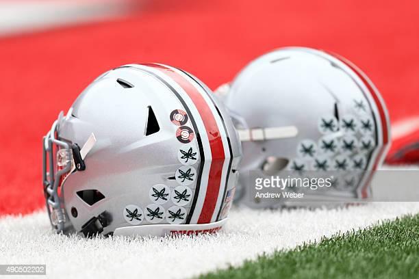 Helmets of Ohio State Buckeyes against the Northern Illinois Huskies at Ohio Stadium on September 19 2015 in Columbus Ohio
