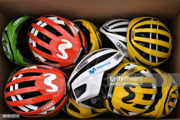 Helmets of Spain's Movistar Team cycling team riders are pictured in a cardboard box prior to a training session on July 6 2018 in Cholet western...