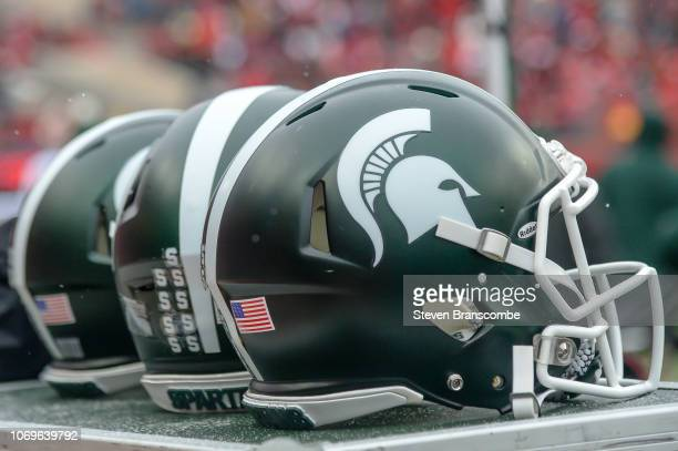 Helmets of the Michigan State Spartans during the game against the Nebraska Cornhuskers at Memorial Stadium on November 17 2018 in Lincoln Nebraska