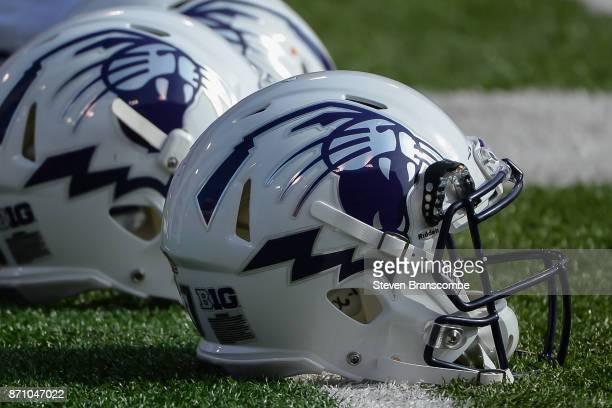 Helmets of the Northwestern Wildcats before the game against the Nebraska Cornhuskers at Memorial Stadium on November 4 2017 in Lincoln Nebraska