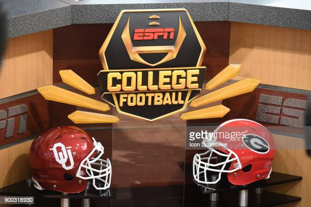 Helmets on Oklahoma and Georgia on display on the ESPN College Football set before the College Football Playoff Semifinal at the Rose Bowl Game...