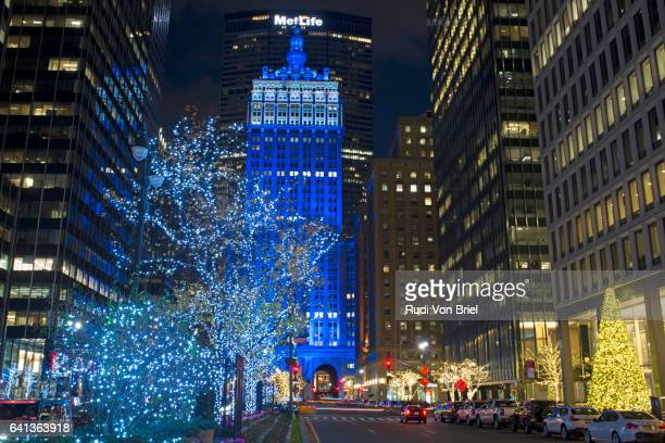 Helmsley Building in blue light, NYC.