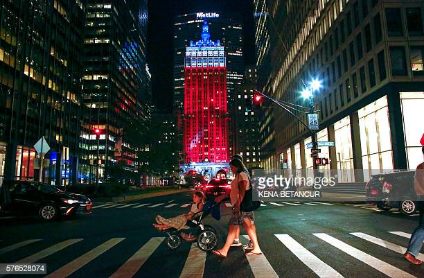 Helmsley Building lit up the colors of the French flag in New York on July 15 2016 A gunman smashed a truck into a crowd of revellers celebrating...