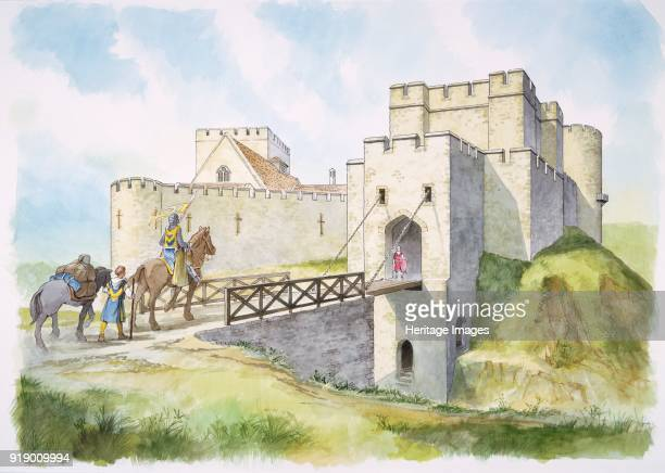 Helmsley Castle North Yorkshire Reconstruction drawing of the south gate in the 13th centurys showing the drawbridge a knight and a page or squire