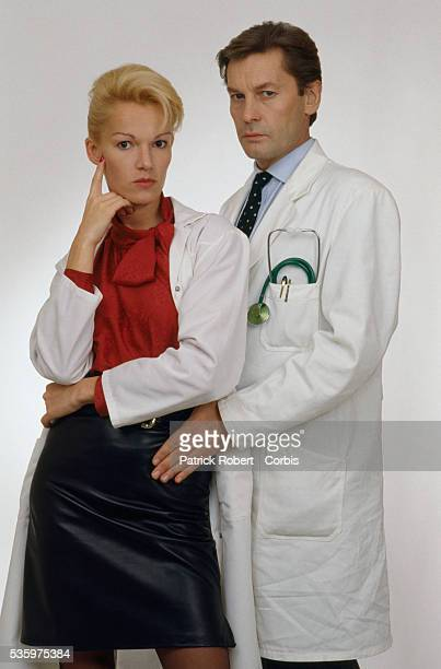 Helmut Berger and Brigitte Lahaie star in the 1988 French horror film 'Faceless' directed by Jesus Franco Telly Savalas also starred in the film