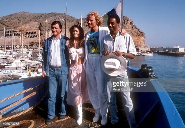 'Helmut Fischer Deborah Shelton Thomas Gottschalk Michael Winslow ZDF/Kinofilm ''Zärtliche Chaoten II'' am im Hafen von Puerto Rico auf Insel Gran...
